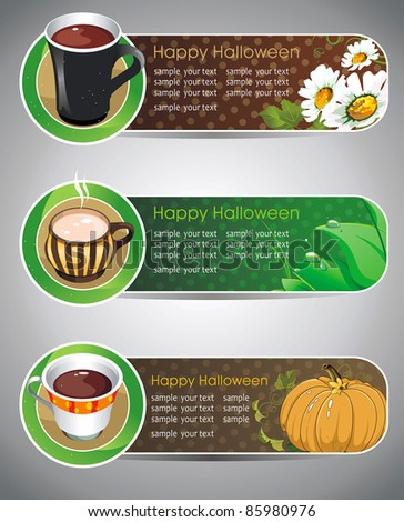 Vector Illustration of three banners of Halloween. Horizontal poster for website.