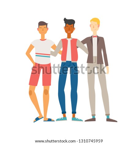 Vector illustration of three best friends. Three young men stand and hug each other.