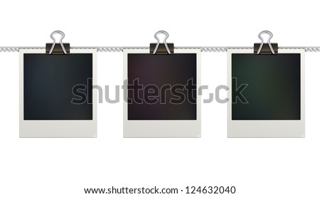 Vector illustration of three blank retro polaroid photo frames over white background