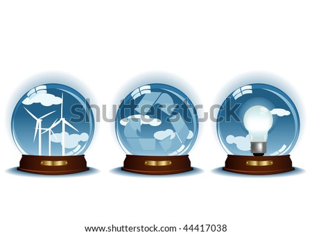 Vector illustration of three blue spheres