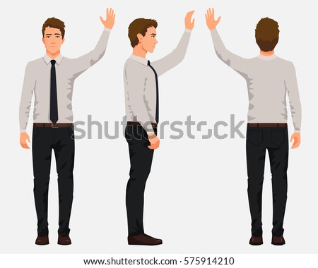 Vector illustration of three business men in official clothes with hand up. Cartoon realistic people illustartion.Worker in a shirt with a tie.Front view man,Side view man ,Back side view man