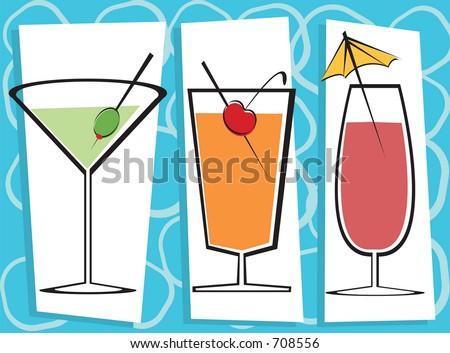 Vector illustration of three contemporary drinks.