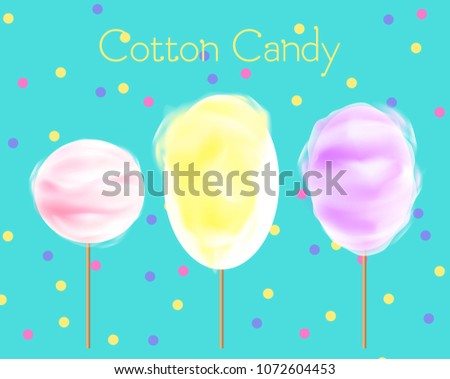 Vector illustration of three cotton candy different colors and shapes on blue background with confetti. Cotton candy of yellow, pink and purple colors, sweet street food concept.