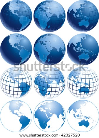 Vector illustration of three different shiny blue Earth globes with different appearance