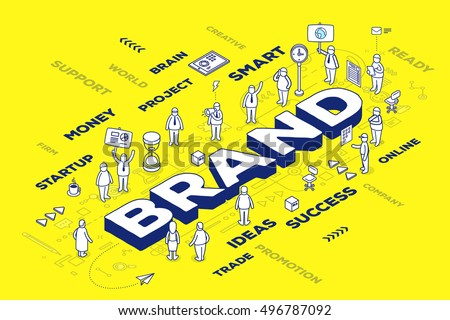 Vector illustration of three dimensional word brand with people and tags on yellow background with scheme. Branding  technology concept. 3d thin line art style design