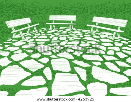 Vector illustration of three garden benches and paving stones