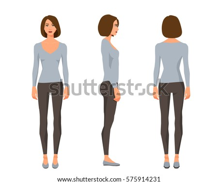 Vector illustration of three girl with shirt hair in casual clothes under the white background.Cartoon realistic people illustration.Flat young woman.Front view girl,Side view girl,Back side view girl
