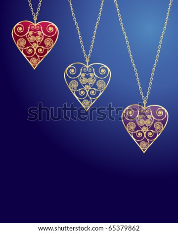 vector illustration of three intricate heart shaped lockets on gold chains in eps10 format
