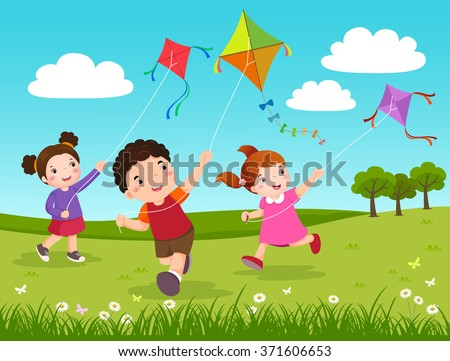 Happy Young Couple In Love Flying A Kite At Summer Download Free