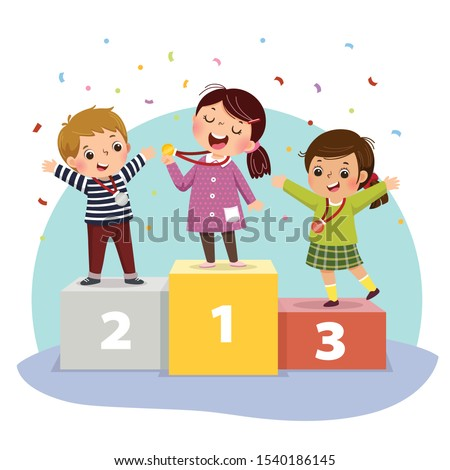 Vector illustration of three kids with medals standing on winners pedestal.