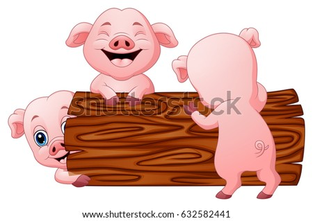 Vector Illustration of Three little pig cartoon in the log
