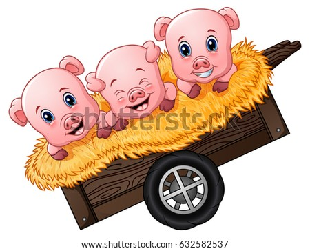 Vector Illustration of Three little pig cartoon on the cart