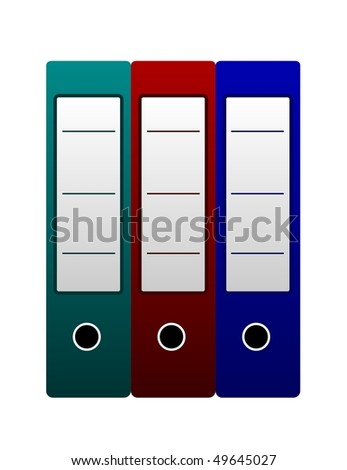 Vector illustration of three office folders are isolated on white background - stock vector