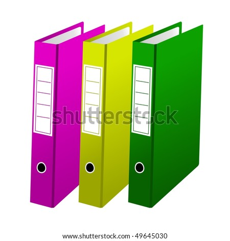 Vector illustration of three office folders are isolated on white background