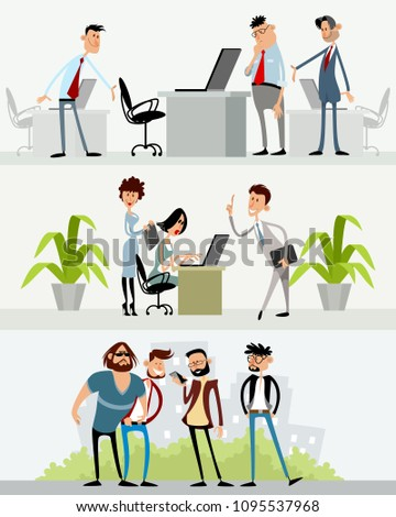 Vector illustration of three scenes with different characters