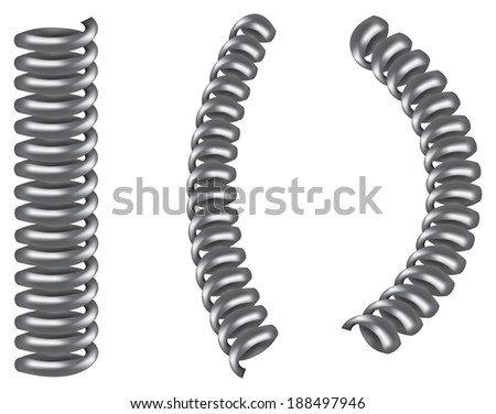 metal spring coil. vector illustration of three silver grey metal spiral coil spring