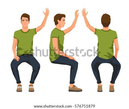Vector illustration of three sitting men with hand up in casual clothes.Cartoon realistic people illustartion. Flat young man. Front view man, Side view man, Back side view man