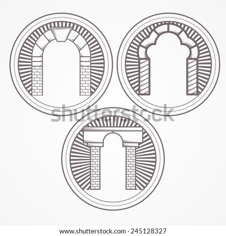 Vector illustration of three types brick arch icon. Design element with three gray brick arch different shapes. Vintage style round line vector icon for some architecture business on white background.
