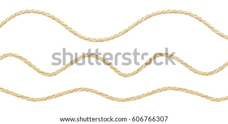 Vector illustration of three types of loose linen string. Pattern of lightly curved linen material texture ropes.