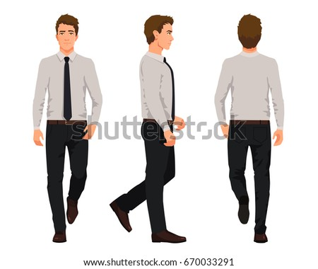 Vector illustration of three walking business men  in official clothes. Cartoon realistic people illustartion.Worker in a shirt with a tie.Front view man,Side view man,Back side view man