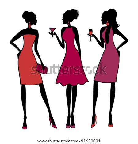 Vector illustration of three young fashionable girls at a cocktail party. Raster version available in my portfolio