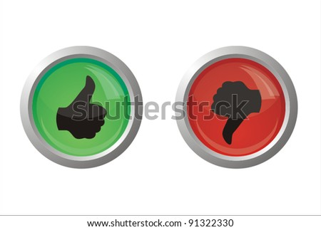 vector illustration of thumb up and thumb down glossy buttons - stock vector