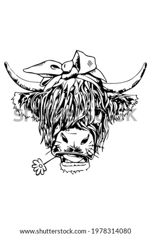 Vector illustration of Tibetan Yak in black color isolated on white background. Engraving template image of bull in profile. Design element for tattoos, poster, t shirt, emblem, logo, sign. Stok fotoğraf ©