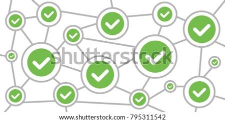vector illustration of tick in circle or approved scheme for correct answer concept