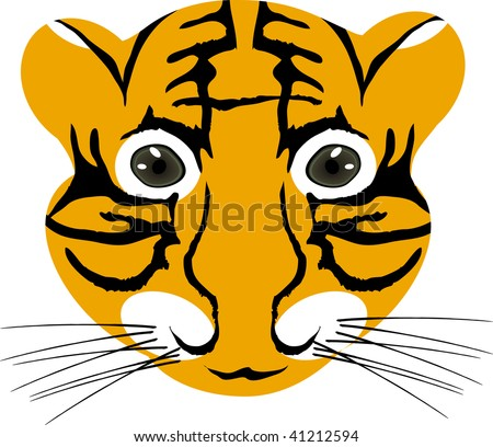 Vector illustration of tiger baby head isolated on a white background