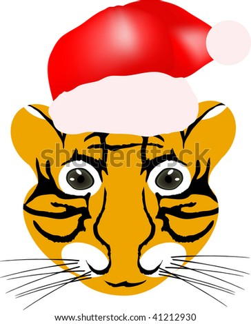 Vector illustration of tiger baby head with red hat isolated on a white background
