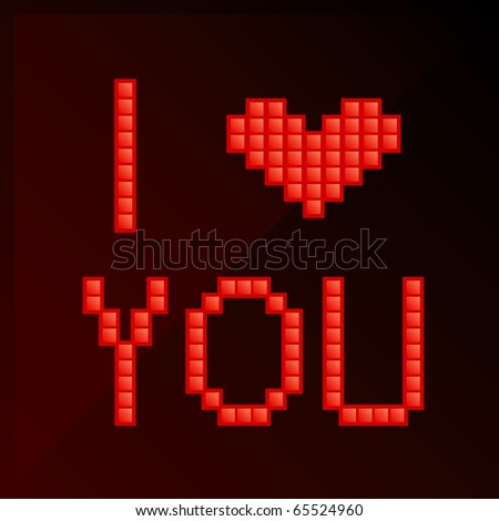 vector illustration of title i love you in pixel art style 65524960 shutterstock. Black Bedroom Furniture Sets. Home Design Ideas