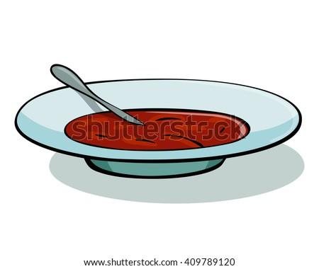 Vector illustration of tomato soup in a white bowl. Soup illustration. Soup icon. Soup icon vector. Soup icon art.  debuff; farming; farm; drop; loot; kharcho; borsch; borshch; russian food