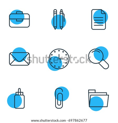 Vector Illustration Of 9 Tools Icons. Editable Pack Of Zoom, Folder, Portfolio And Other Elements.