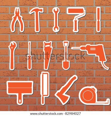 Vector illustration of tools on the wall
