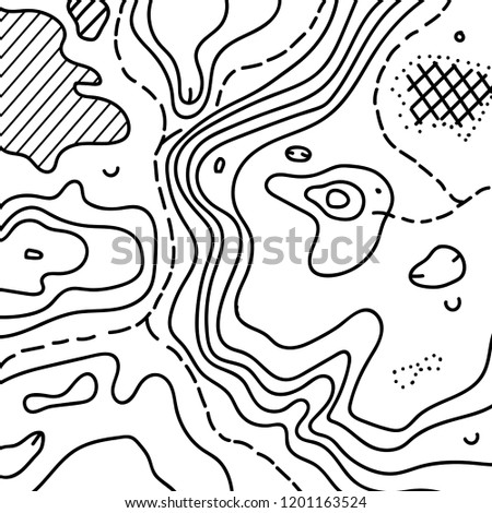 Vector illustration of topographic orienteering map with text place. topo symbols and landmark objects. Orientation, topography, navigation banner template.