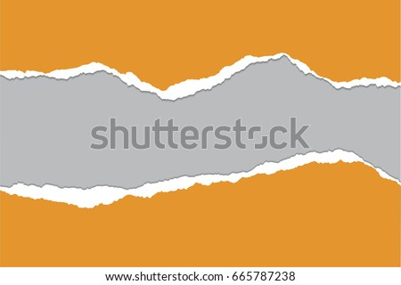 Vector illustration of torn orange paper with gray background isolated on white background suitable for text insertion