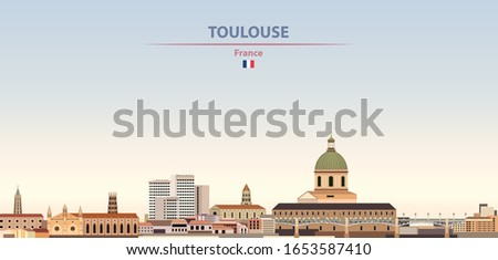 Vector illustration of Toulouse city skyline on colorful gradient beautiful daytime background