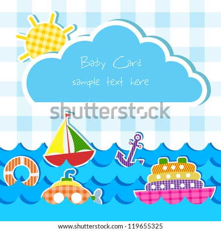 vector illustration of toy of different water transportation  in baby announcement card