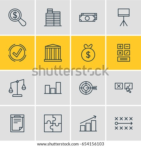 Vector Illustration Of 16 Trade Icons. Editable Pack Of Building  , Graph , Board Stand Elements.