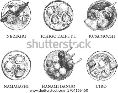 Vector illustration of traditional oriental Japanese cuisine kitchen desserts. Hanami dango, Nerikiri, Uirō, Kusa mochi, Ichigo daifuku, Namagashi. Vintage hand drawn engraving etched style.