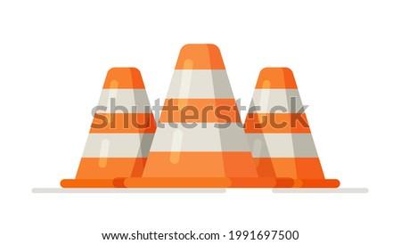 Vector illustration of traffic cones. Traffic cone, traffics cones isolated, traffic cone vector, orange traffic cones.