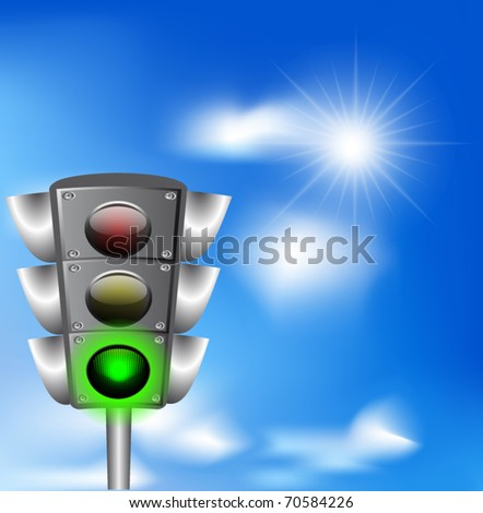 Vector illustration of  traffic light against blue sky.