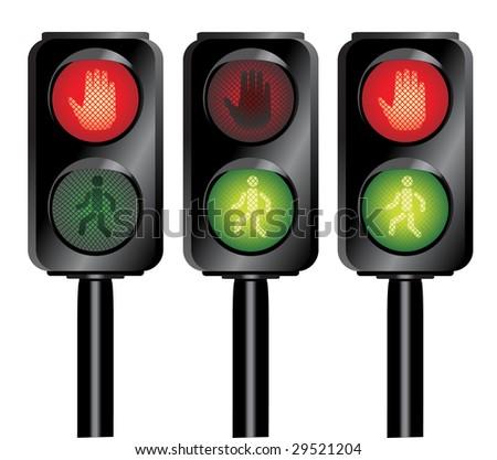Vector illustration of 3 traffic lights