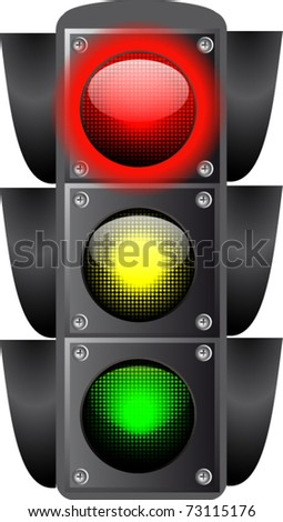 Vector illustration of traffic lights isolated.