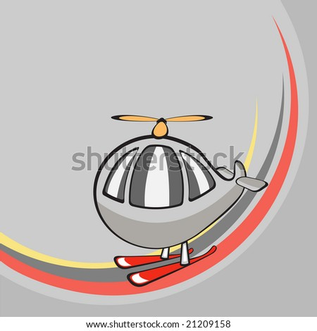 Vector illustration of  Transport Cartoon  . Little funny helicopter