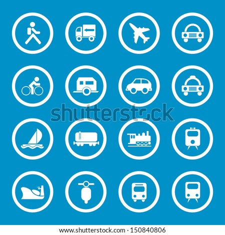 Vector illustration of travel and transportation icons.