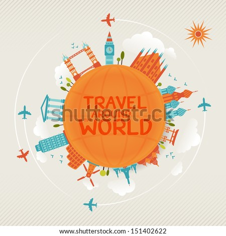vector illustration of travel famous monuments around world with plane, sun and clouds.