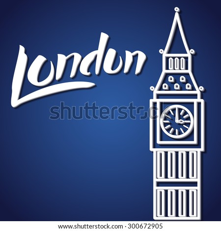 Vector Illustration of Travel London Lettering for Design, Website, Background, Banner. England Tourism logo Template with Big Ben and Landmark #300672905
