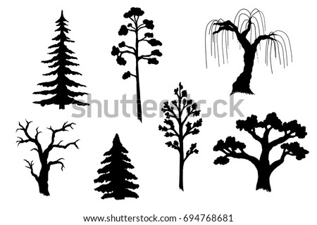 Vector illustration of tree silhouettes. Black forms of the most common trees.