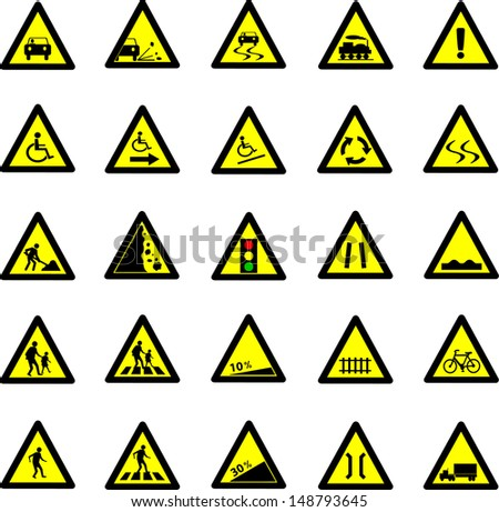 Vector illustration of triangle black and yellow road signs collection